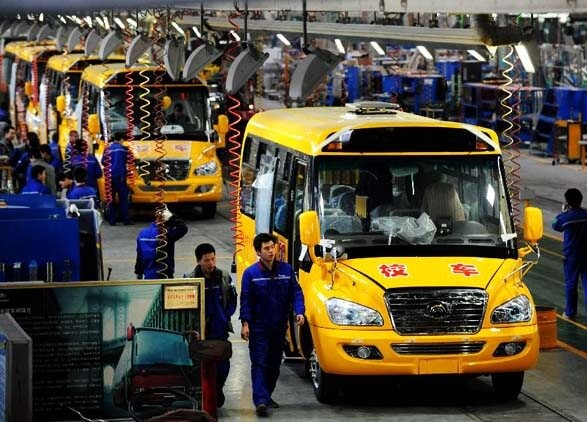 School Bus Assembly Line